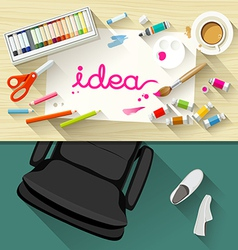 Designer desk artist collections flat design vector
