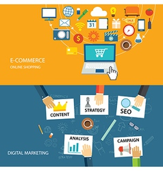 digital marketing and e-commerce flat design vector image