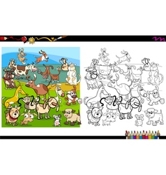 dog characters coloring page vector image