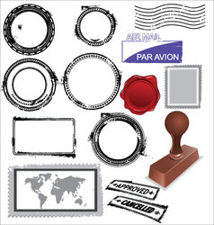 Empty postage stamps rubber stamps and wax seal vector