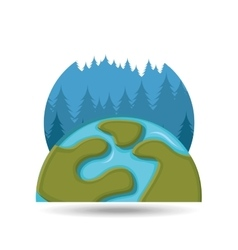 Environment care globe landscape icon graphic vector