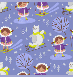 eskimo sketch cartoon seamless pattern vector image