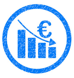 euro recession rounded icon rubber stamp vector image