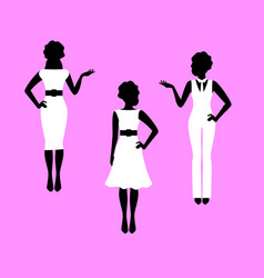 Fashion woman model silhouettes set vector