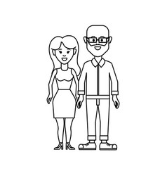 Figure couple man with glasses and woman with vector