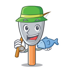 Fishing cartoon putty knife in plaster vector