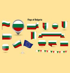 flag bulgaria big set icons and symbols vector image