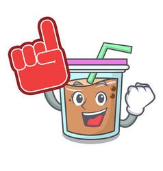 Foam finger bubble tea mascot cartoon vector