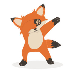 Fox dub dancing sign cartoon vector