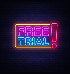 Free trial neon text free trial neon sign vector