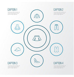 Garment outline icons set collection cardigan vector