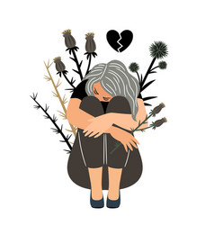 Girl in sorrow vector
