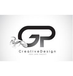 gp letter logo design with black smoke vector image