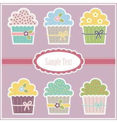 Greeting card with cupcakes vector