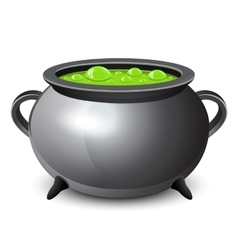 Halloween witches cauldron with green potion vector