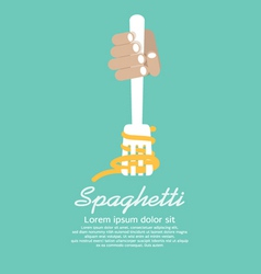 Hand Holding Fork With Spaghetti vector