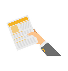 hand with document page vector image