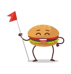 Happy Hamburger Cartoon Character vector image