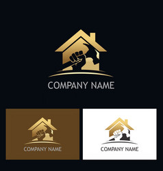 Home repair gold company logo vector