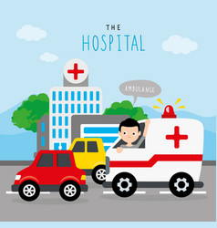 Hospital ambulance car boy traffic road vector