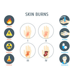 Human skin burns infographic card poster vector