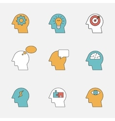 Human thinking process color line icons vector image