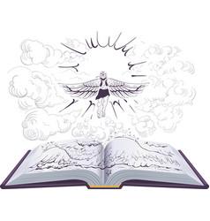 Icarus flies to sun open book ancient vector
