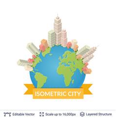 Isometric city elements vector