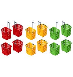 isometric set plastic shopping baskets on white vector image