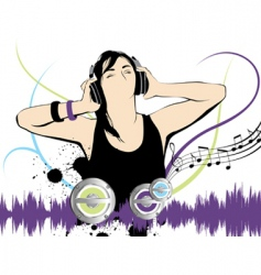 listening to the music vector image vector image