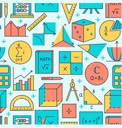 math seamless pattern in colored line style vector image