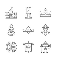 medieval linear icons set vector image