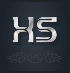 Metallic 3d icon or logotype template x and s vector