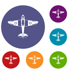 military fighter plane icons set vector image