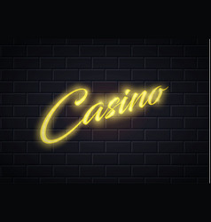Neon casino poker card sign brick wall vector