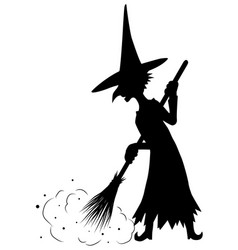 old witch sweeping silhouette vector image