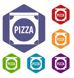 Pizza box cover icons set hexagon vector