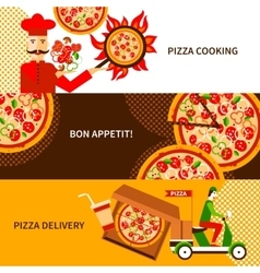 Pizza delivery flat horizontal banners set vector image