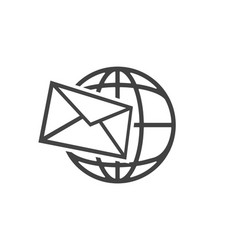 planet and envelope icon fast delivery letters vector image
