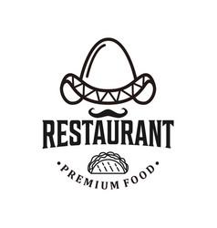 Restaurant hotdog logo vintage design food drink vector