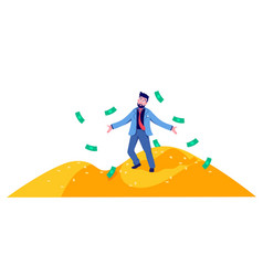 Rich cartoon business man standing on mountain of vector