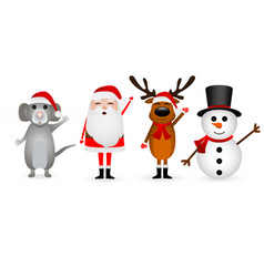 santa claus christmas reindeer with a snowman and vector image