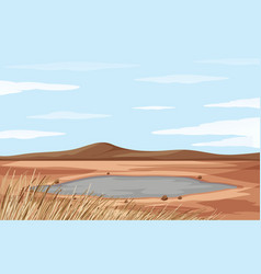 Scene with pond and dry land vector