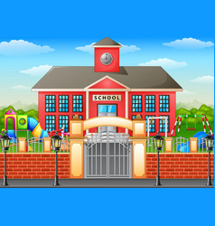 school building and playground area vector image
