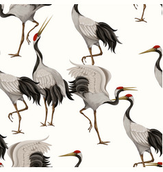 Seamless pattern with japanese white cranes vector