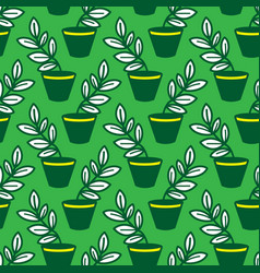 seamless pattern with leaves in pots vector image