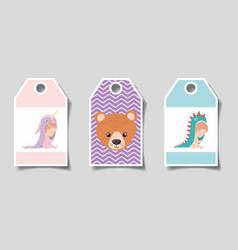 Set cute babies labels design vector