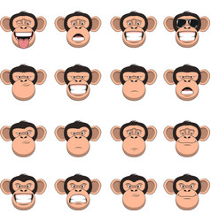 Set head monkey vector