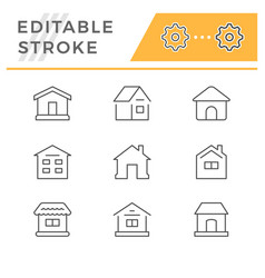 set line icons house vector image