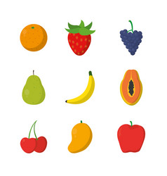 set of fruits cartoons vector image